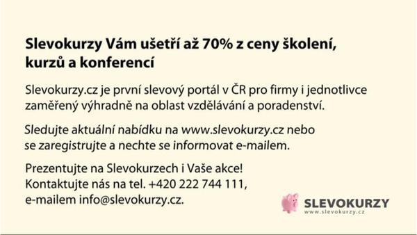 Na portálu Slevokurzy můžete zakoupit školení, kurzy, konference a ostatní vzdělávací a poradenské služby se slevou až 70 %